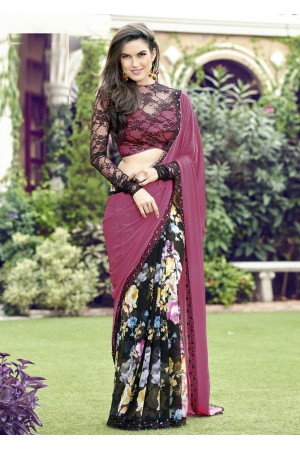 Pink Colored Printed Chiffon Georgette Festive Saree 2103