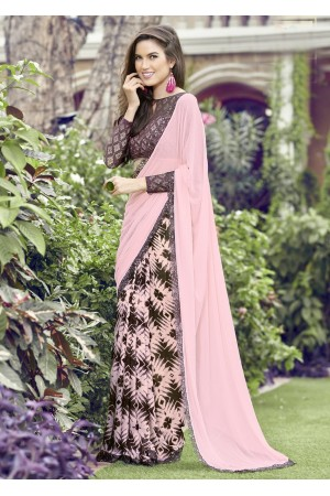 Pink Colored Printed Chiffon Georgette Festive Saree 2105