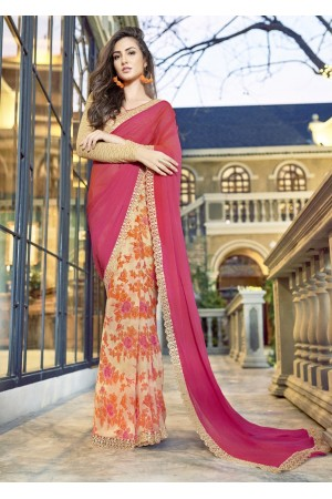 Pink Colored Printed Chiffon Georgette Festive Saree 2111
