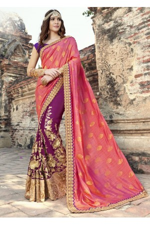 Purple Colored Embroidered Georgette Art Silk Partywear Saree 1908