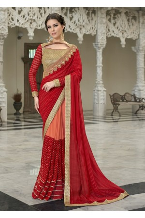 Red Colored Embroidered Chiffon Georgette Net Partywear Saree 97048