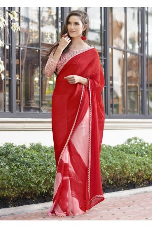 Red Colored Printed Chiffon Georgette Festive Saree 2107