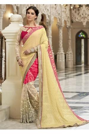 Yellow Colored Embroidered Chiffon Net Festive Saree 97053