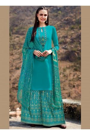 Blue color cotton Palazzo salwar kameez