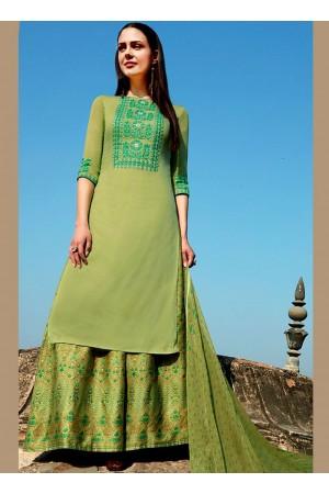 Green color cotton Palazzo salwar kameez