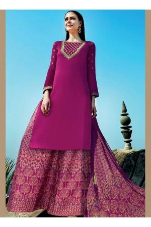 Magenta color cotton Palazzo salwar kameez