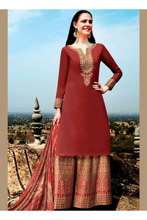 Maroon color cotton Palazzo salwar kameez