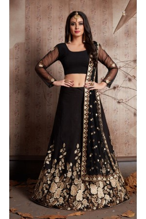 Indian Dress Black Color Bridal Lehenga 534