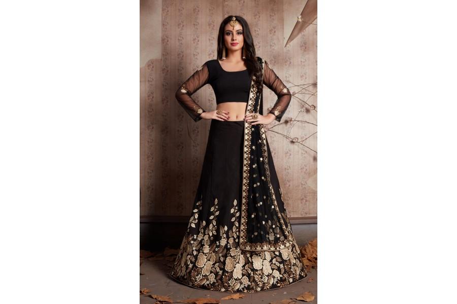 14f44ce1d3e Indian Dress Black Color Bridal Lehenga 534
