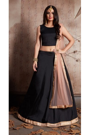 Indian Dress Black Gold Color Bridal Lehenga 520