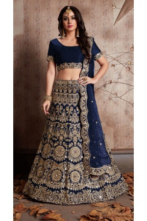 Indian Dress Blue Color Bridal Lehenga 610