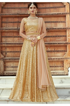 Indian Dress Gold Color Bridal Lehenga 1104
