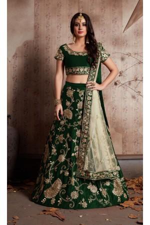 Indian Dress Green Color Bridal Lehenga 341G