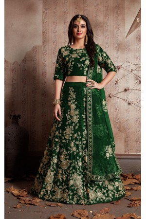 Indian Dress Green Color Bridal Lehenga 359G