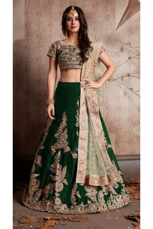 Indian Dress Green Color Bridal Lehenga 603