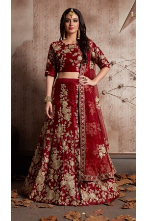 Indian Dress Maroon Color Bridal Lehenga 359M