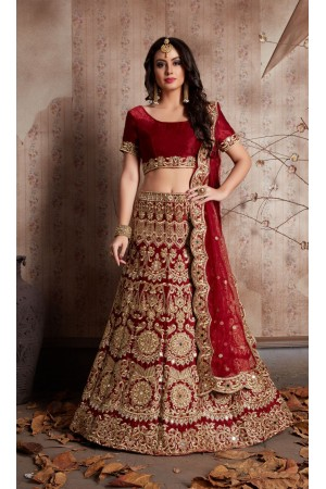 Indian Dress Maroon Color Bridal Lehenga 609
