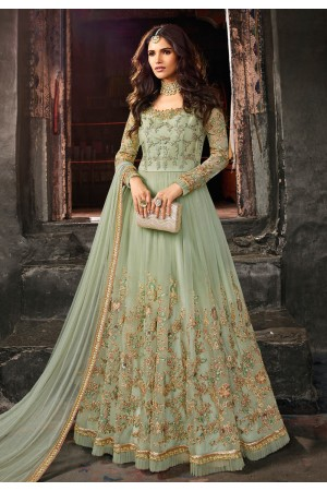 Light green net embroidered floor length anarkali suit 5401