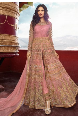 Pink banglori silk embroidered center slit anarkali suit 5406pant