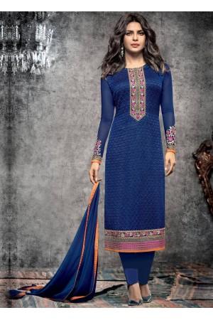 Priyanka Chopra Party wear Suit in Blue color