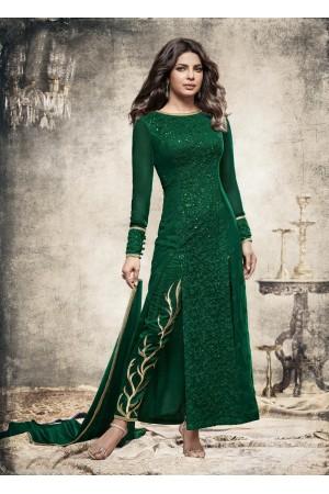 Priyanka Chopra Party wear Suit in Green color