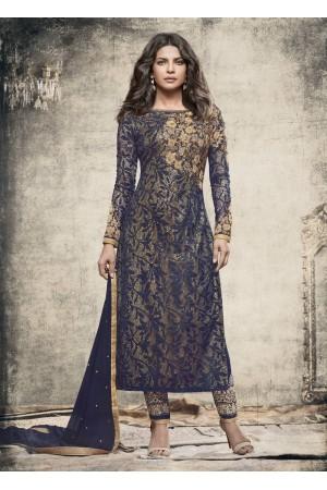 Priyanka Chopra Party wear Suit in Navy Blue color