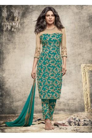 Priyanka Chopra Party wear Suit in Sea Blue color