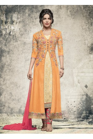 Priyanka Chopra Party wear Suit in Yellow color