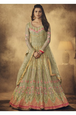 Light green color net party wear anarkali