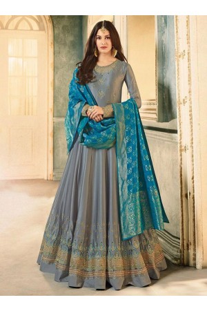 Amyra Dastur Grey color georgette wedding wear Anarkali