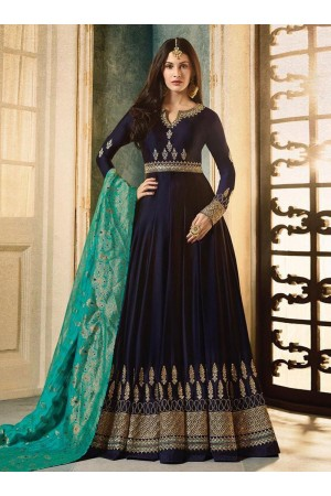 Amyra Dastur Navy blue color georgette wedding wear Anarkali