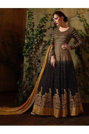 Black and gold color georgette party wear anarkali suit