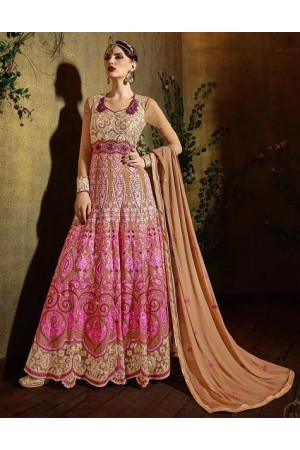 Pink color georgette party wear anarkali suit