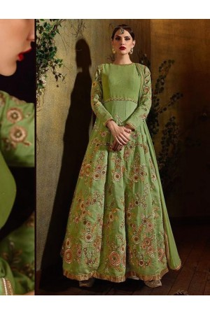 Green color raw silk party wear anarkali suit