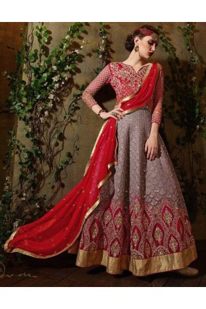 Red and grey color georgette party wear anarkali suit