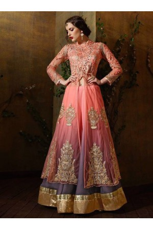 Pink shaded color net and georgette party wear anarkali suit