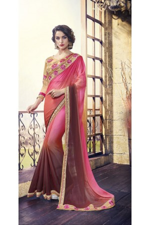 Party-wear-Pink-Beige-3-color-saree