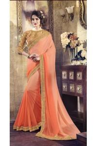 Party-wear-peach-beige-color-saree
