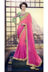 Party-wear-pink-green-color-saree