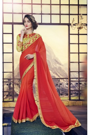 Party-wear-red-green-color-saree