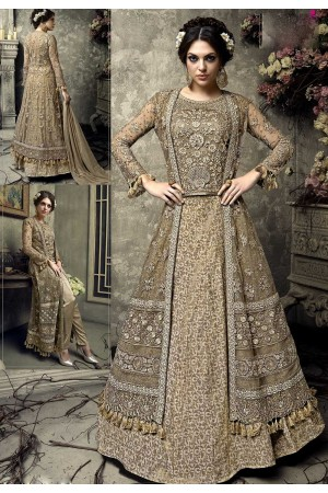 Beige color heavy work wedding lehenga kameez S306