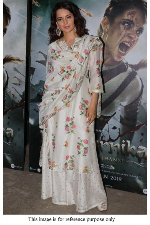 Bollywood Kangana Ranautt white floral kurta set