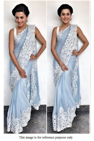 Bollywood Taapse Pannu light blue georgette saree