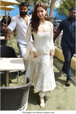 Bollywood Alia Bhat white Kalank promotion anarkali