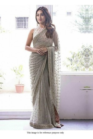 Bollywood Anu Emmauel grey net designer saree