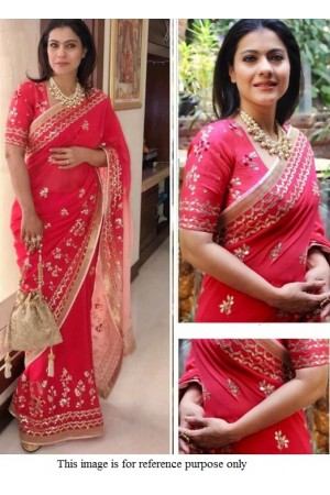 Bollywood Kajol Inspired Pink Georgette saree