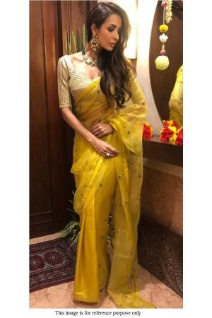 Bollywood Malaika Arora Khan yellow organza saree