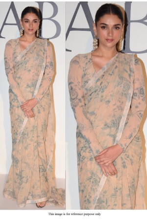 Bollywood Sabyasachi Inspired Aditi Rao beige printed saree