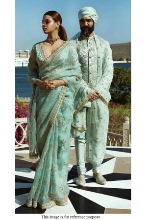 Bollywood Sabyasachi Inspired Turquoise Organza saree