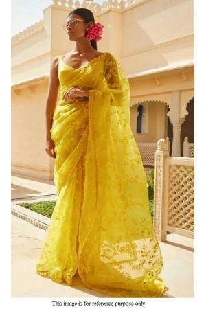 Bollywood Sabyasachi Inspired yellow net saree